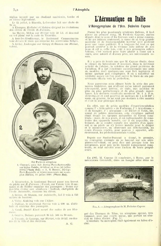 L'Aérophile du 1 Janvier 1910 - Pag. 342 - L'Aérouautique eu Italie - I'Aérogyroplane de l'Hon. Federico Capone