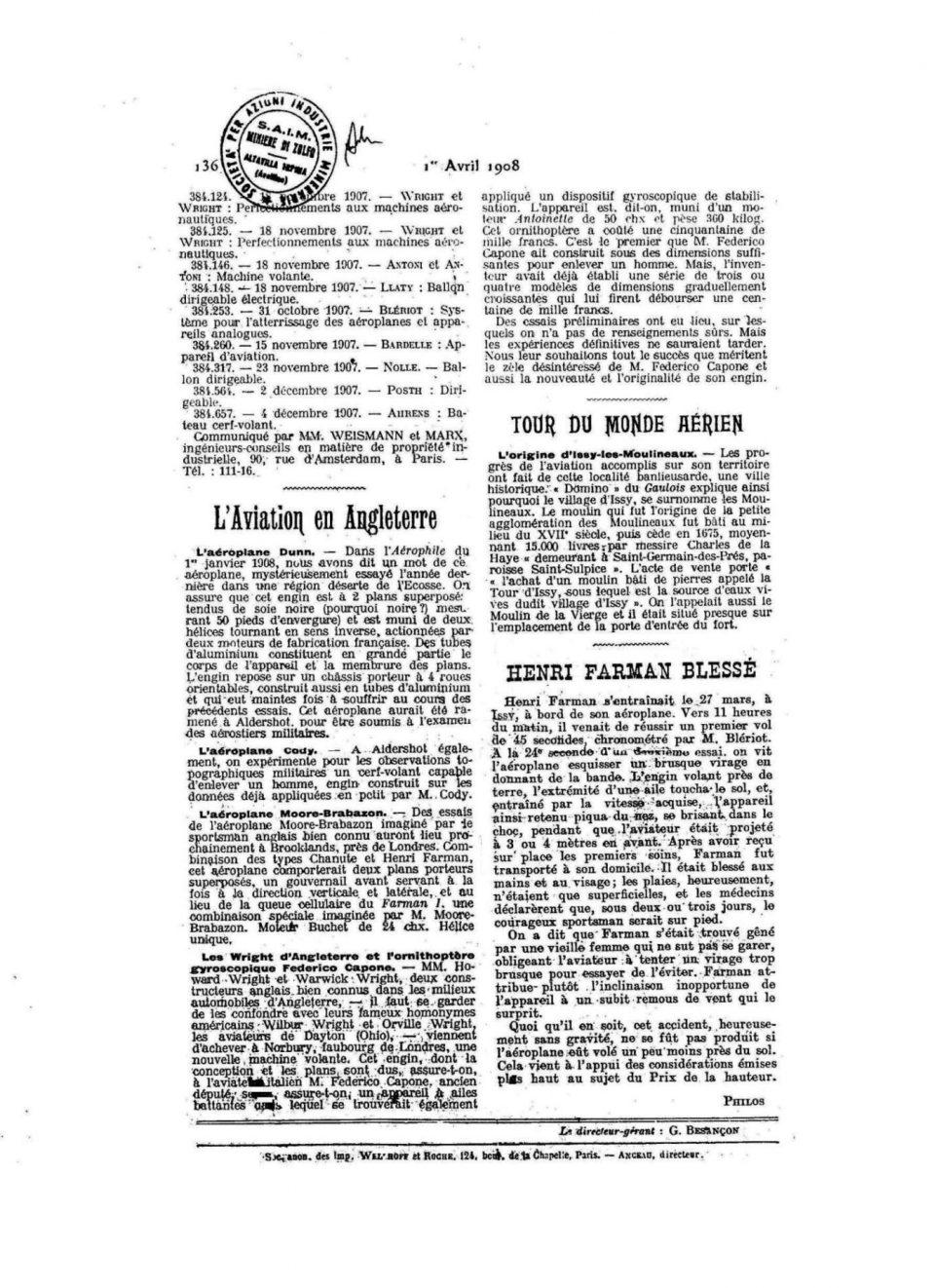 L'Aérophile - 1 Aprile 1908 - Pag.136