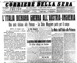 prima guerra mondiale Dichiarazione di guerra - Corriere della Sera - 24 maggio 1915