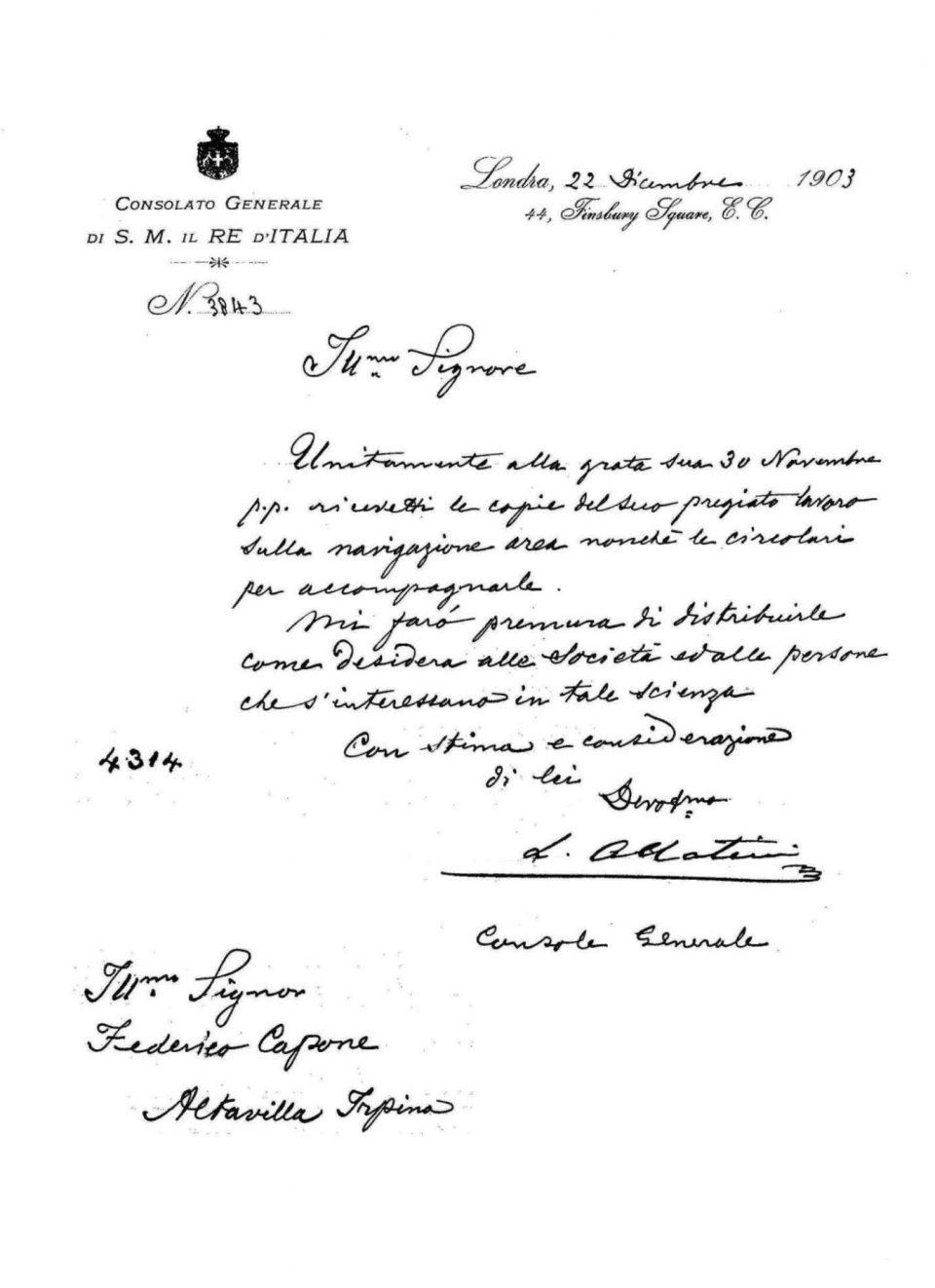 Lettera tra il Console Italiano e Federico Capone