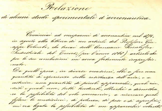 Diario di Enrico Forlanini - Pag.1
