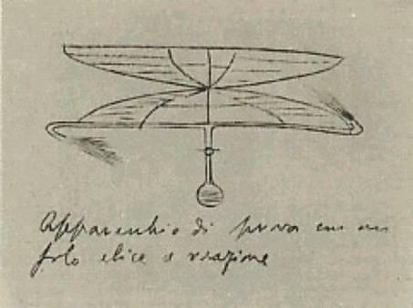 Appunti di Enrico Forlanini sull'Elicottero