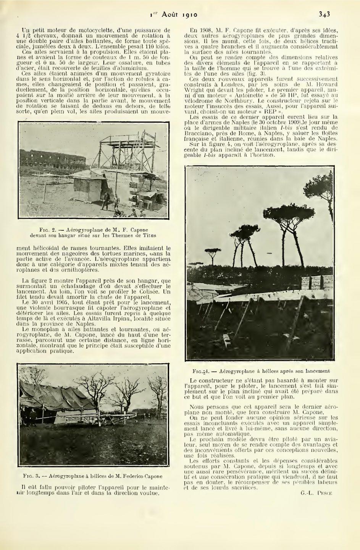L'Aérophile du 1 Janvier 1910 - Pag. 343 - L'Aérouautique eu Italie - I'Aérogyroplane de l'Hon. Federico Capone