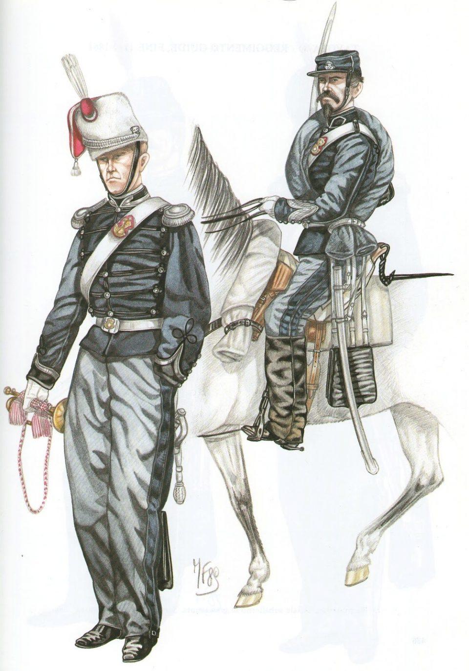 Reggimento Guide - 1860 - Trombettiere in gran tenuta e sergente un tenuta da campagna