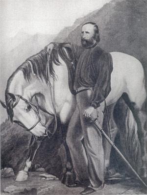 Garibaldi e la sua cavalla Marsala - Olio su tela di A. Martelli - Milano, Museo del Risorgimento