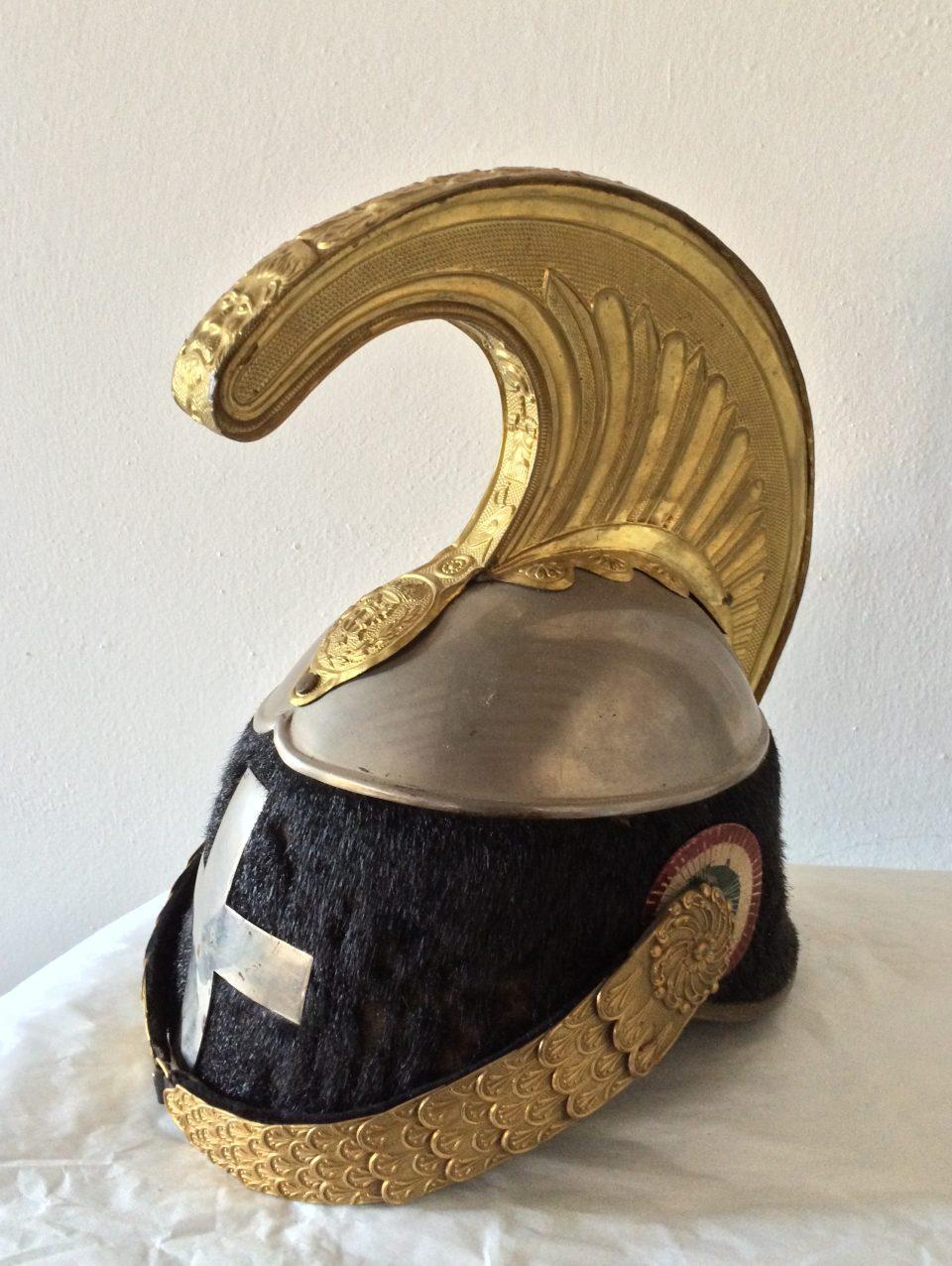 Elmo di Cavalleria da truppa portato da soldati del Reggimento di Cavalleria Savoia