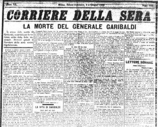 Corriere della Sera - 3 giugno 1882 - Morte di Giuseppe Garibaldi