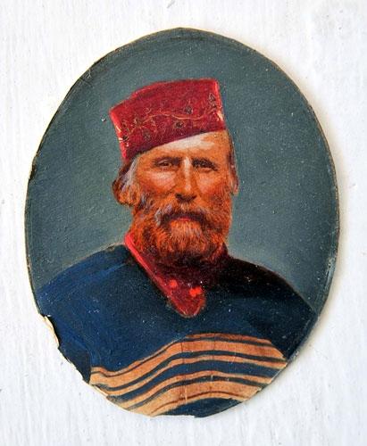 """Ritratto di Giuseppe Garibaldi con il suo tradizionale poncho (Fonte: """"Garibaldi a Livorno"""" di Laura Lezza)"""