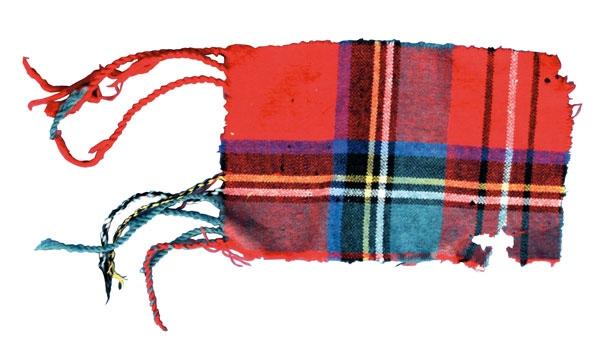 """Pezzetto di tessuto del poncho di Garibaldi (Fonte: """"Garibaldi a Livorno"""" di Laura Lezza)"""