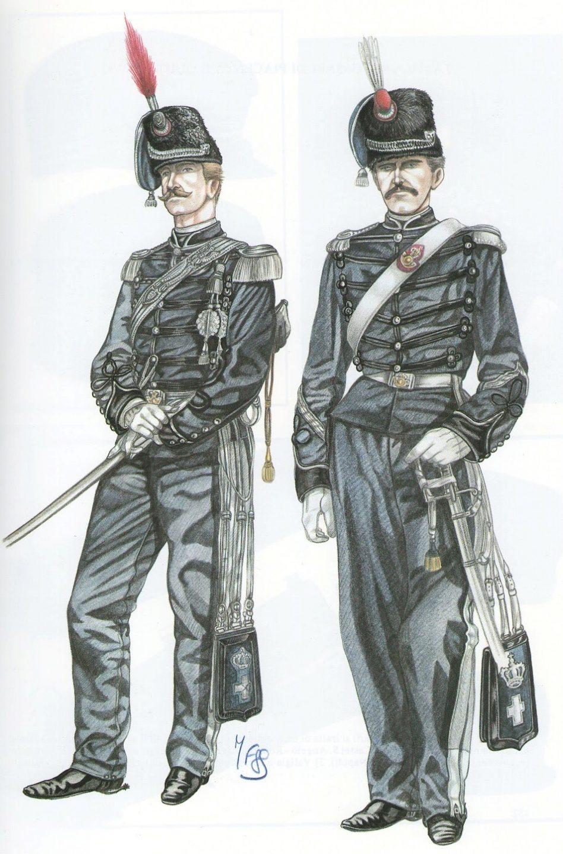 Reggimento Guide - 1860/1861 - Ufficiale subalterno in gran tenuta e sergente in tenuta festiva