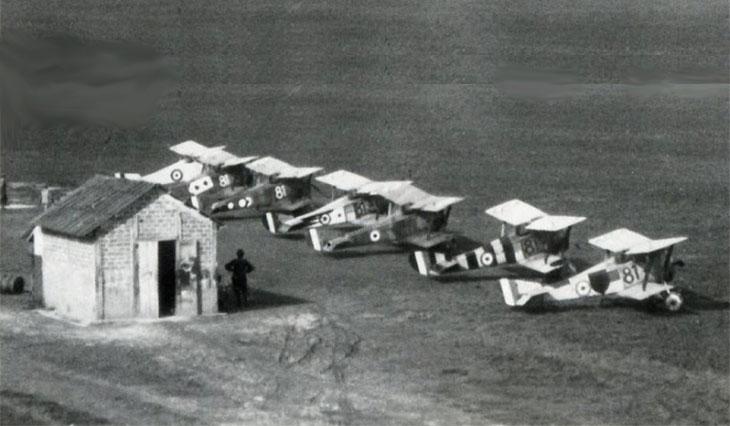 HanriotHD.1 dell'81^ Squadriglia a Campo Casoni nel 1918