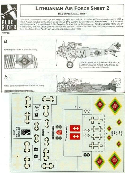 Fiat C.R.20 - Blue Rider - Lithuanian Air Force - Sheet 2 - 1:72 - Cod. BR216