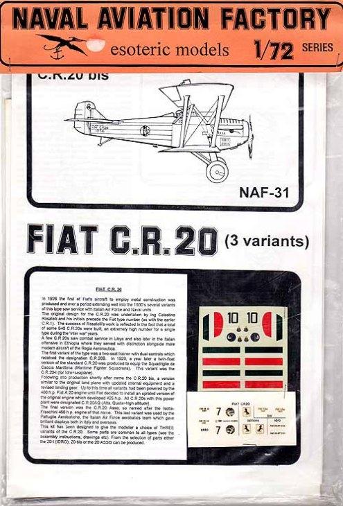 Fiat C.R.20 - Esoteric Models - Cod. NAF-31 - 1-72