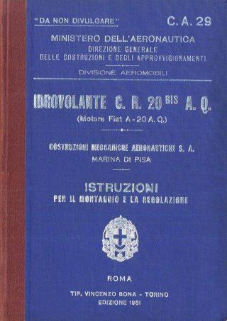 Fiat C.R.20 Bis AQ Idrovolante - 1931 - Ministero dell'Aeronautica - Manuale per il montaggio