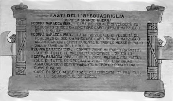 Stele commemorativa dei fasti dell'81^ Squadriglia