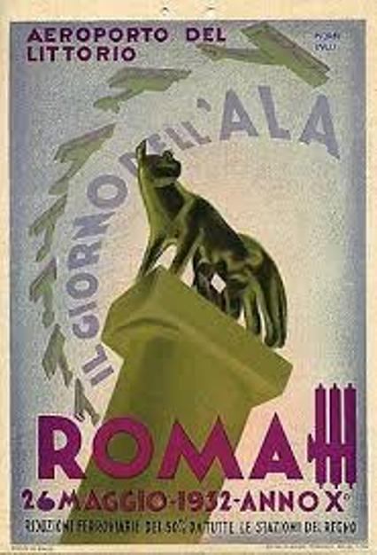Manifesto del 2° Giorno dell'Ala - Aeroporto del Littorio - 26 Maggio 1932