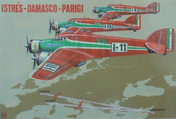 Stampa rievocativa della vittoria degli S.79 alla corsa Istres-Damasco-Parigi