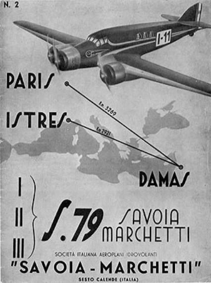 Manifesto rievocativo della vittoria degli S.79 alla corsa Istres-Damasco-Parigi