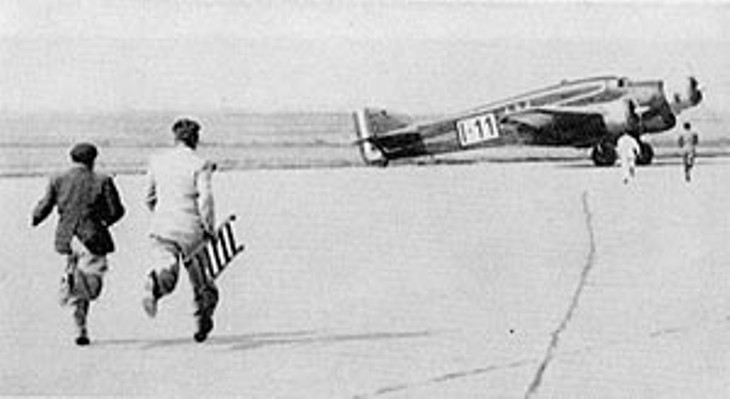 L'arrivo a Parigi del Savoia Marchetti S.79C - I-CUPI pilotato da Cupini e Paradisi