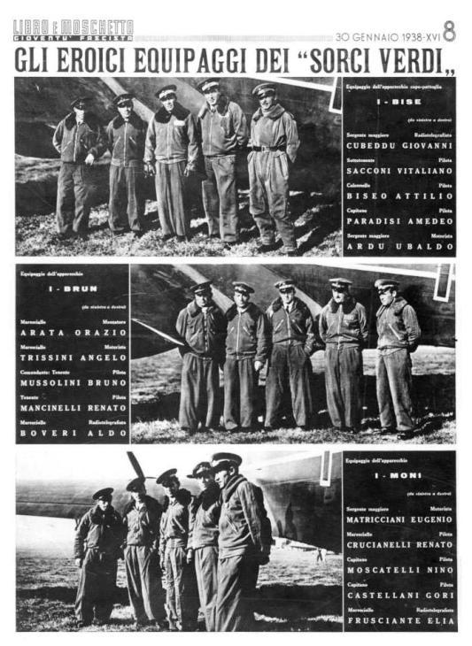 Gli equipaggi del raid Italia-Brasile del 24-1-1938 - Il volo dei Sorci Verdi