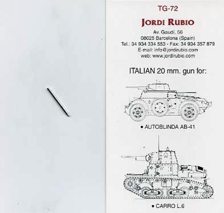Cannone 20 mm. della Jordi Rubio - JDR-TG72 Breda 20mm