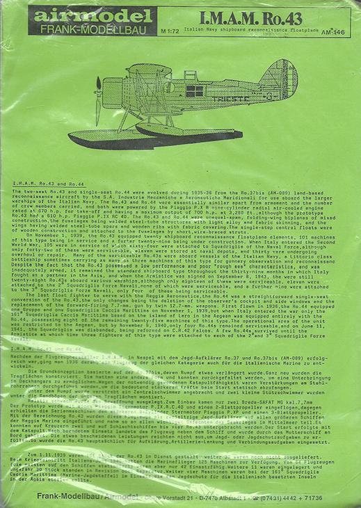 IMAM Ro-43 - Airmodel - 1/72 - Cod. AM-146
