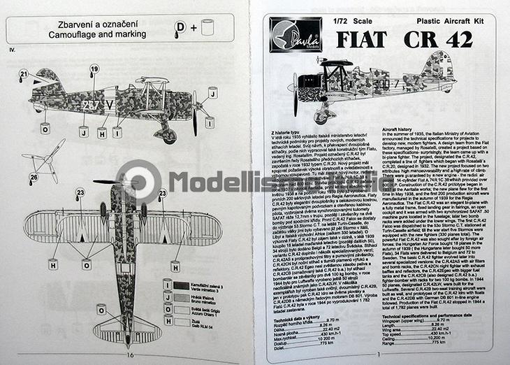 Fiat Cr.42 Falco – Pavla Models – N. 72048 – Scala 1:72 - Istruzioni - Pag 1-16