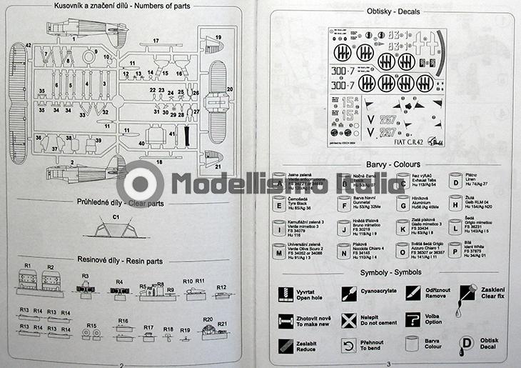 Fiat Cr.42 Falco – Pavla Models – N. 72048 – Scala 1:72 - Istruzioni - Pag 2-3