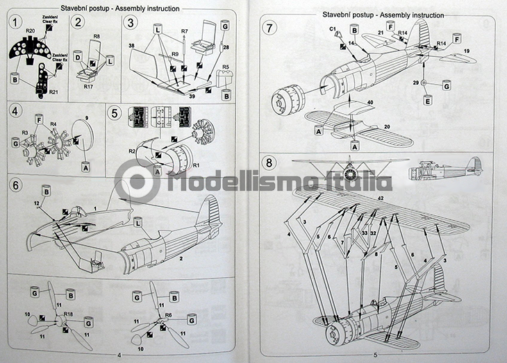 Fiat Cr.42 Falco – Pavla Models – N. 72048 – Scala 1:72 - Istruzioni - Pag 4-5