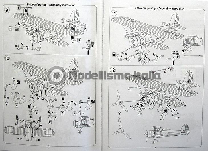 Fiat Cr.42 Falco – Pavla Models – N. 72048 – Scala 1:72 - Istruzioni - Pag 6-7