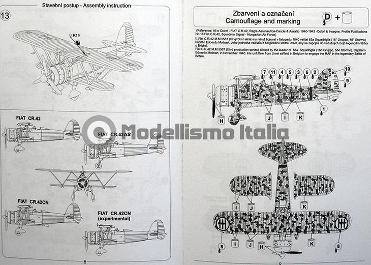 Fiat Cr.42 Falco – Pavla Models – N. 72048 – Scala 1:72 - Istruzioni - Pag 8-9