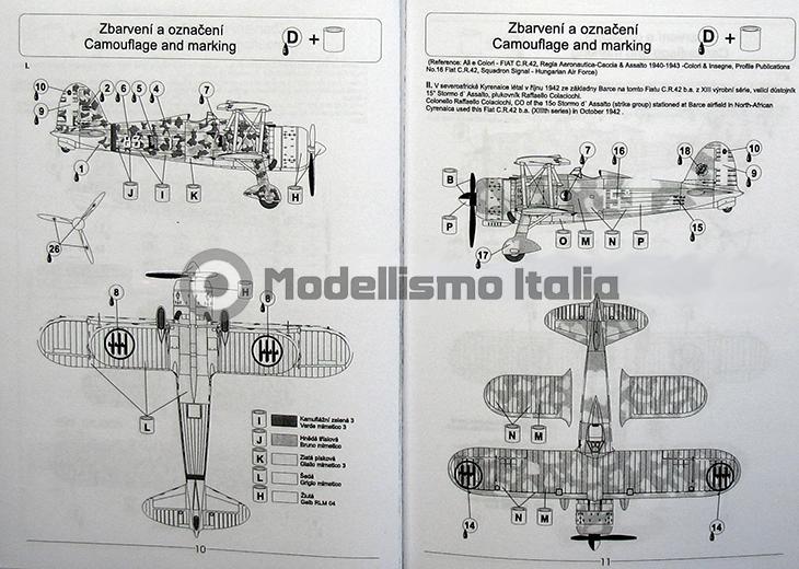Fiat Cr.42 Falco – Pavla Models – N. 72048 – Scala 1:72 - Istruzioni - Pag 10-11