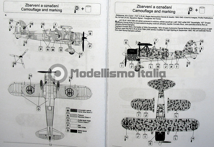 Fiat Cr.42 Falco – Pavla Models – N. 72048 – Scala 1:72 - Istruzioni - Pag 12-13