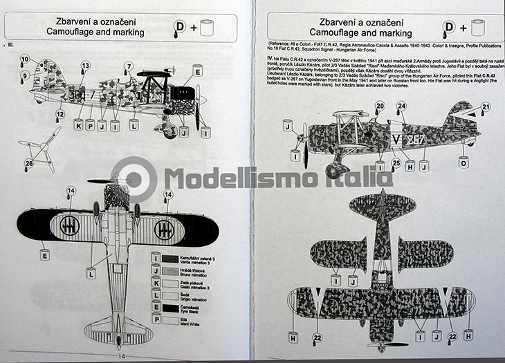 Fiat Cr.42 Falco – Pavla Models – N. 72048 – Scala 1:72 - Istruzioni - Pag 14-15