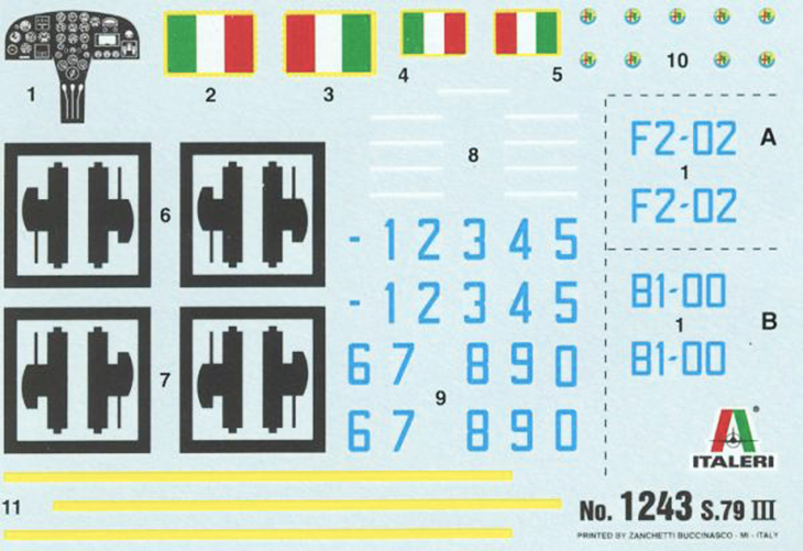 Foglio Decals - S.79 III - Italeri N.1243