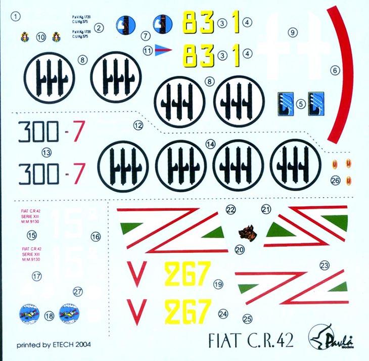 Fiat Cr.42 Falco – Pavla Models – N. 72048 – Scala 1:72 - Decals