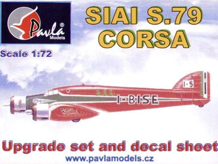 """Pavla Models - SIAI S.79C/T """"Corsa""""set di conversione,foglio decal, tettuccio vacuform - 1/72 - Cod. U72-58"""