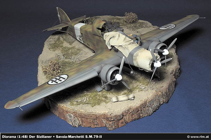 Diorama Savoia Marchetti SM.79 II Sparviero - Il Siciliano - Modello, e diorama di Christian Jakl, fotodi Wolfram Bradac