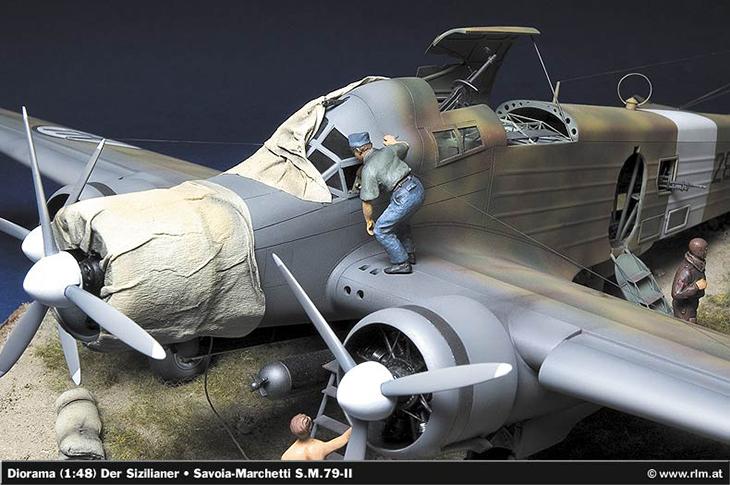 Savoia Marchetti SM.79 II Sparviero - Il Siciliano - Modello, e diorama di Christian Jakl, fotodi Wolfram Bradac