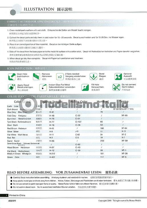 Carro Armato Fiat-Ansaldo CV35 - Bronco Models - scala 1/35 - No. CB-35007 - Istruzioni