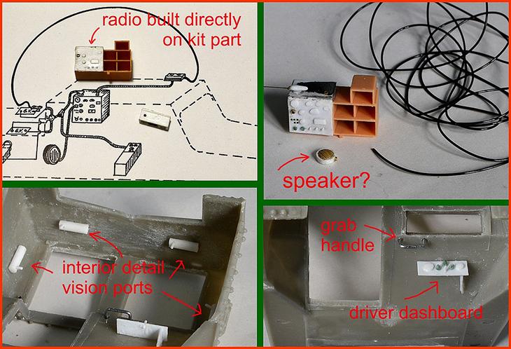 Radio costruita direttamente sul kit - Altoparlante? - Ddettaglio dell'interno dei visori - Maniglia di sostegno - Cruscotto del pilota - Foto di Jack Geratic